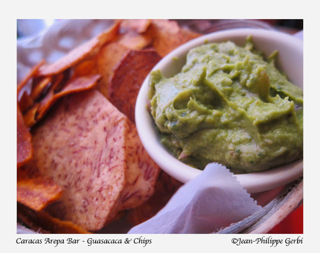 Image of guasacaca and chips at Caracas Arepa Bar in the East Village NYC, New York