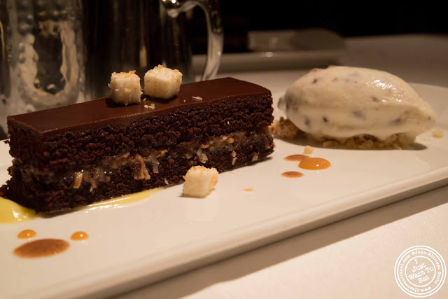 image of chocolate pecan coconut cake served with butter pecan ice cream at Gramercy Tavern in NYC, New York