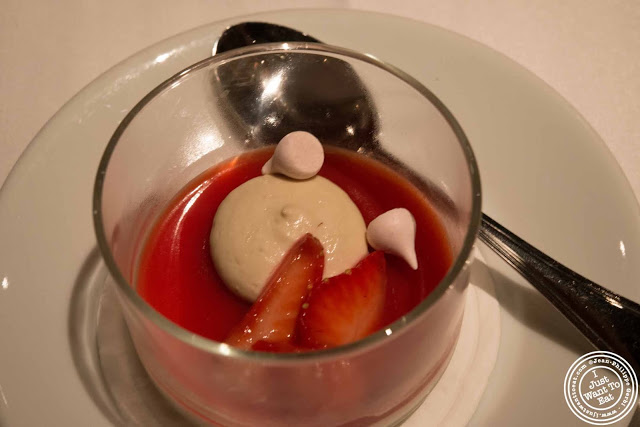 image of strawberry panna cotta at Gramercy Tavern in NYC, New York