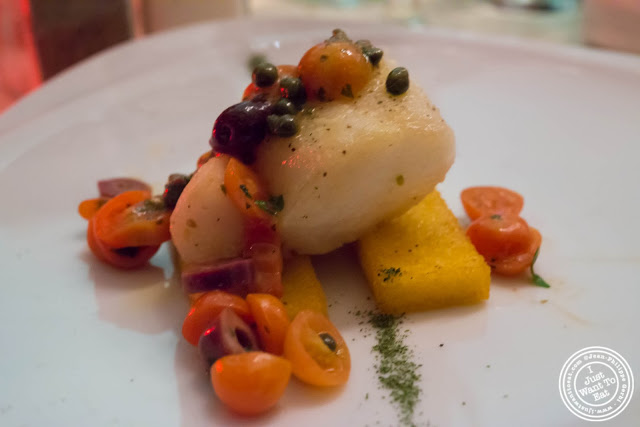 image of seared cod with olives, tomatoes and capers at Giano Italian restaurant in the East Village - NYC, New York