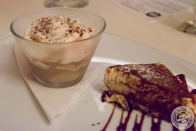image of cappuccino and tiramisu desserts at Giano Italian restaurant in the East Village - NYC, New York