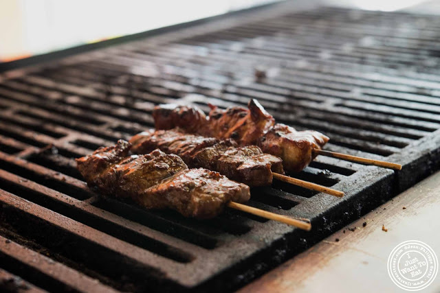 image of yakitori on the grill at Bambootori, Japanese Yakitori in NYC, New York