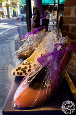 image of Chocolate shoes at Li Lac Chocolates in NYC, New York
