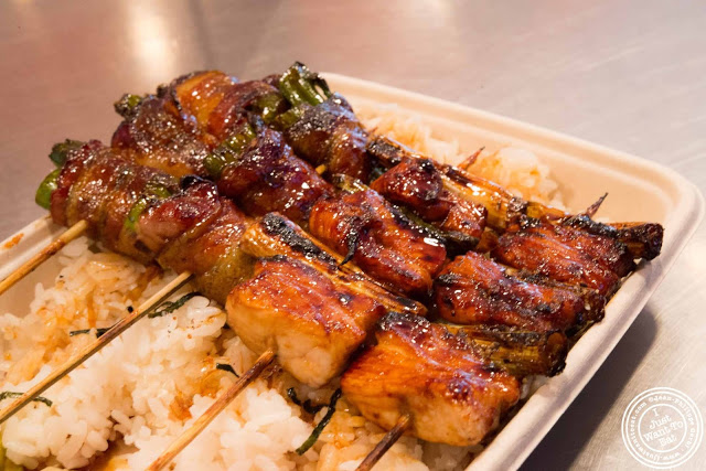image of skewers over rice at Bambootori, Japanese Yakitori in NYC, New York