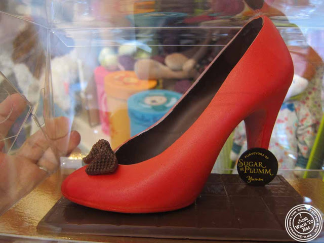 Image of red chocolate shoe at Sugar and Plumm in NYC, New York