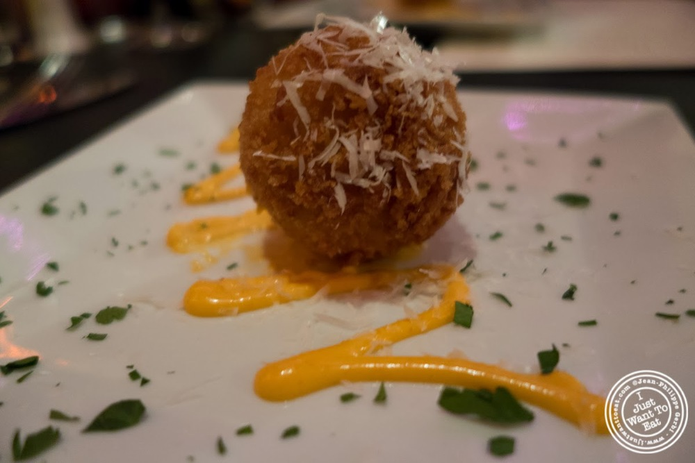 image of Mac and cheese croquette at MASQ New Orleans inspired cuisine in NYC, New York