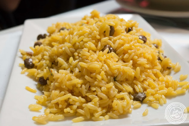 image of yellow rice and pigeon peas at La Isla in Hoboken, NJ