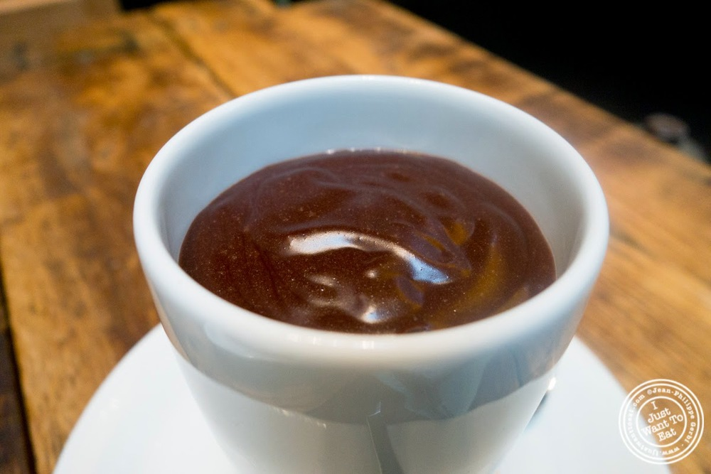 image of hot chocolate at Hogar Dulce Hogar, a Basque Bakery in Soho