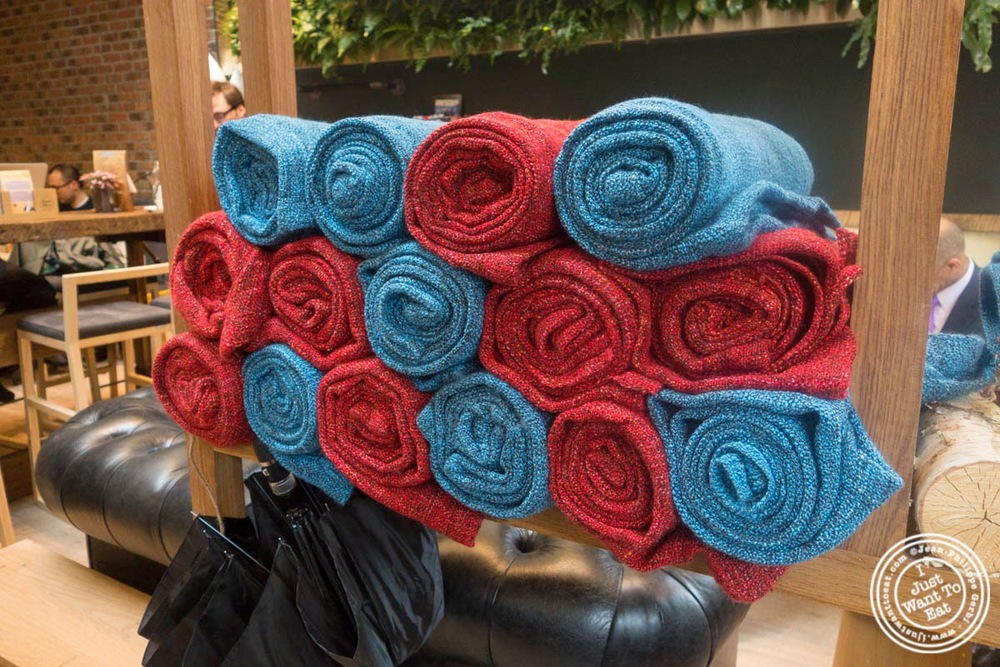 image of blankets at Hogar Dulce Hogar, a Basque Bakery in Soho
