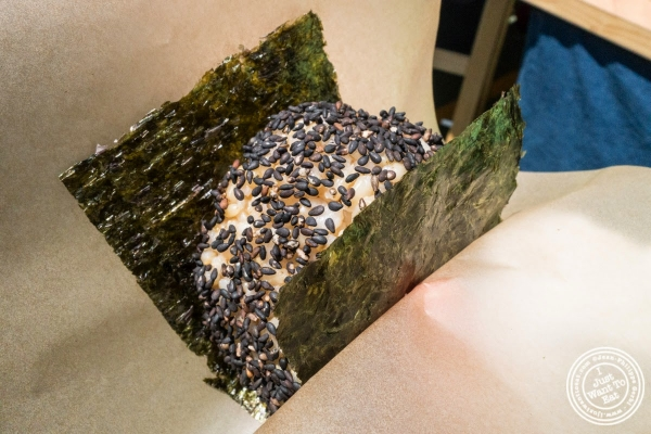 rice ball with black sesame at Rice and Miso Everyday at Smorgasburg in Brooklyn, NY