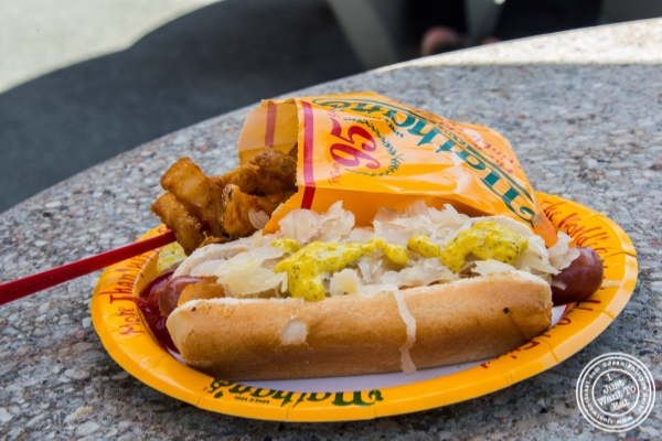 hotdog and fries at Nathan's in Coney Island Luna Park in Brooklyn, NY