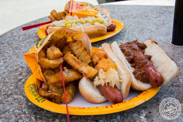 hotdogs and fries at Nathan's in Coney Island Luna Park in Brooklyn, NY