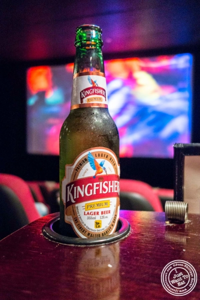 Kingfisher beer at The NiteHawk Movie Theater in Brooklyn, NY