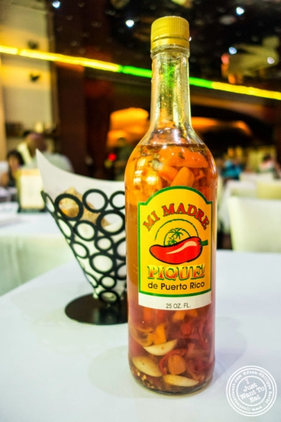 hot sauce at Don Coqui, Puerto Rican restaurant in Astoria, NY