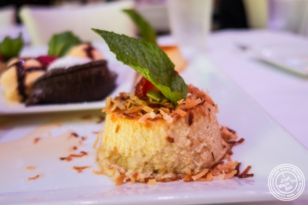 coconut flan at Don Coqui, Puerto Rican restaurant in Astoria, NY