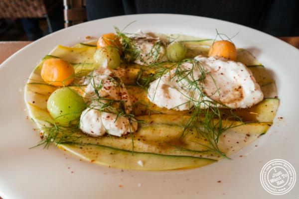 Burrata and squash carpaccio atDavid Burke's Kitchen in New York, NY