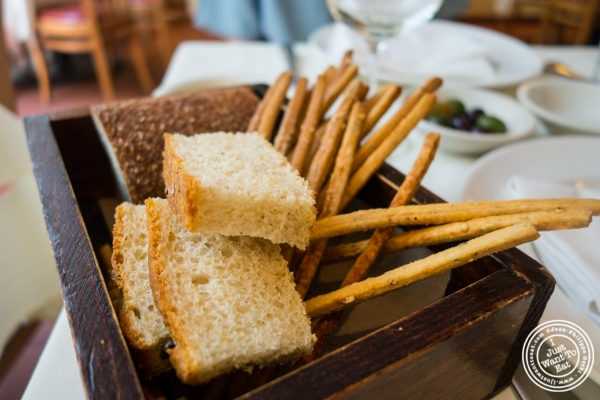 Bread basket at Becco in New York, NY