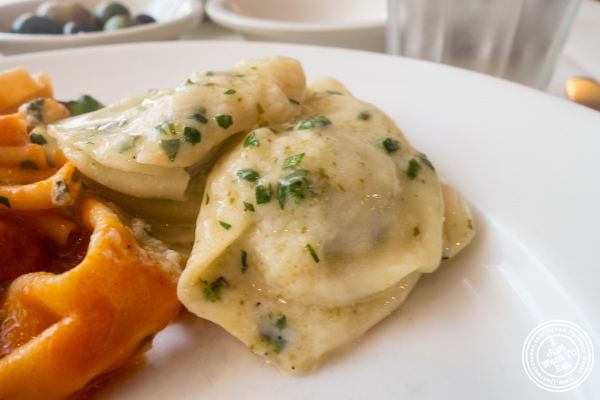 Swiss chard ravioli at Becco in New York, NY