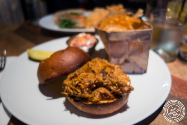 Pulled pork sandwich at Urbo in Times Square, New York, NY