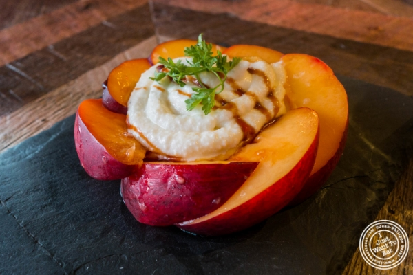 Nectarines and ricotta at Urbo in Times Square, New York, NY
