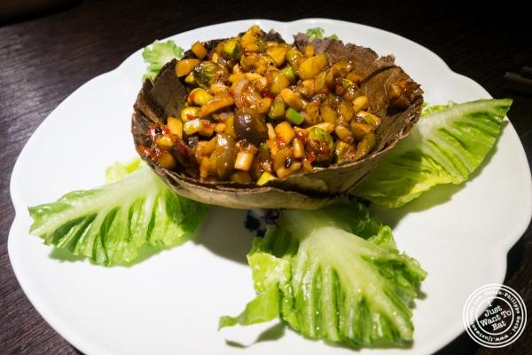 stir-fried mushrooms with lettuce wrap at Hakkasan in NYC, NY