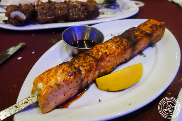 Salmon kebab at Nargis Café in Brooklyn, NY