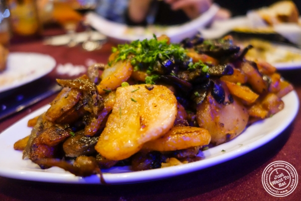 Potatoes with mushrooms and onions at Nargis Café in Brooklyn, NY