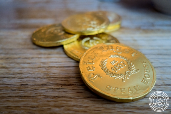 Chocolate coins at Peter Luger Steakhouse in Brooklyn, NY