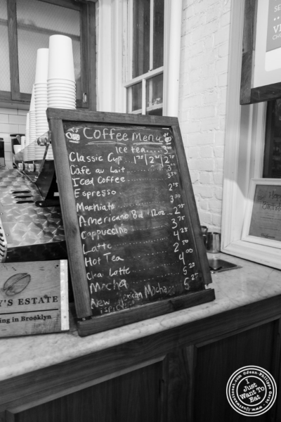 Coffee menu at Van Leeuwen Ice Cream Shop in New York, NY