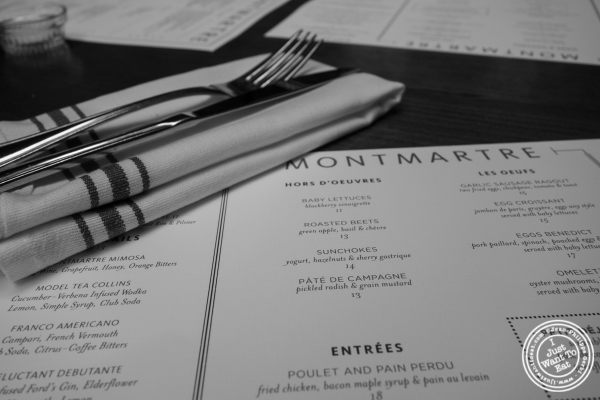 Menu at  Montmartre in New York, NY