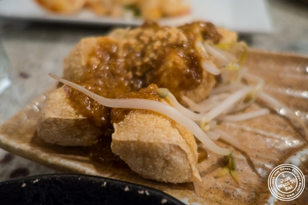 Satay tofu puffs at Laut in New York, NY