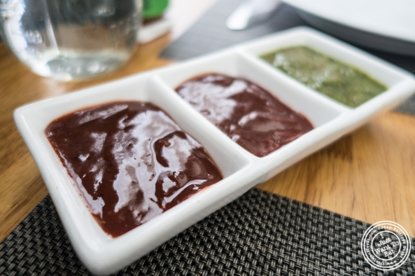 sauces for papadam at Bhatti Indian Grill in New York, NY