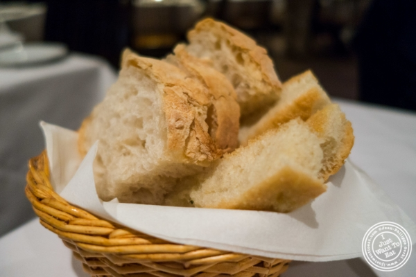 White bread and focaccia at Il Corso, Italian Restaurant in New York, NY
