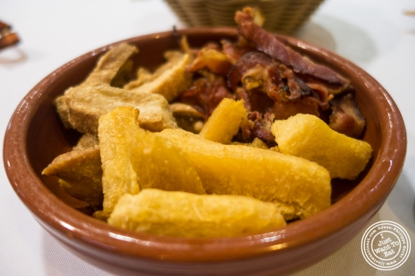 Y uca fries and chicharron at Bolinha in Sao Paulo, Brazil