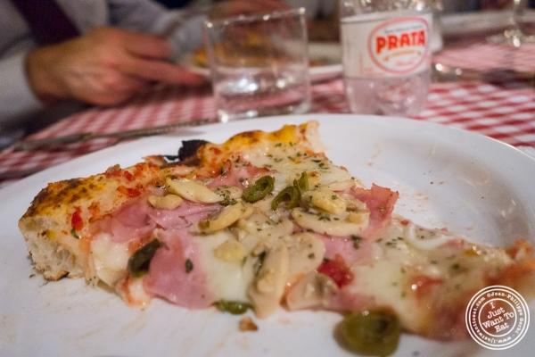 ham and mushroom pizza at Margherita Pizzeria in Sao Paulo, Brazil