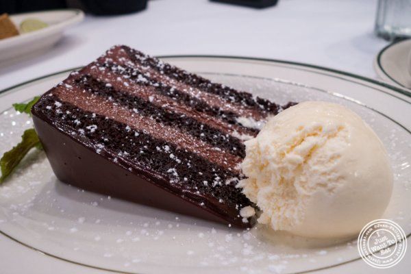 Chocolate layer cake at City Lobster and Steak in New York, NY
