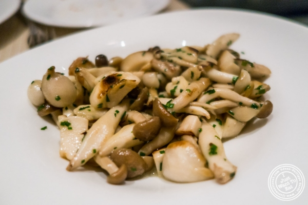 Sautéed wild mushrooms with truffle butter at Maze by Gordon Ramsay in New York, NY
