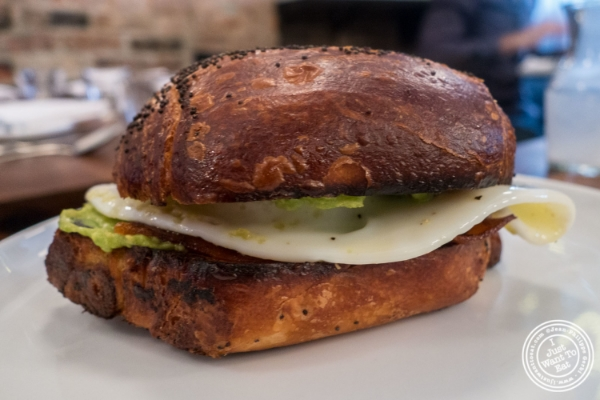 Egg sandwich at Estela in New York, NY