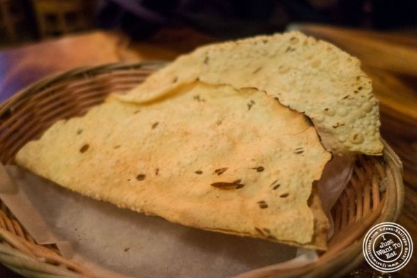 Papadum at Baluchi's, Indian restaurant in Tribeca, NYC, New York