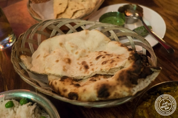 Cheese naan at Baluchi's, Indian restaurant in Tribeca, NYC, New York