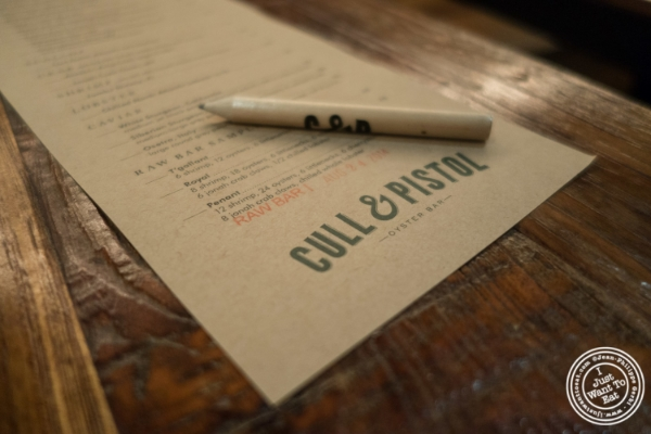 Raw bar menu at Cull and Pistol at Chelsea Market, NYC, New York