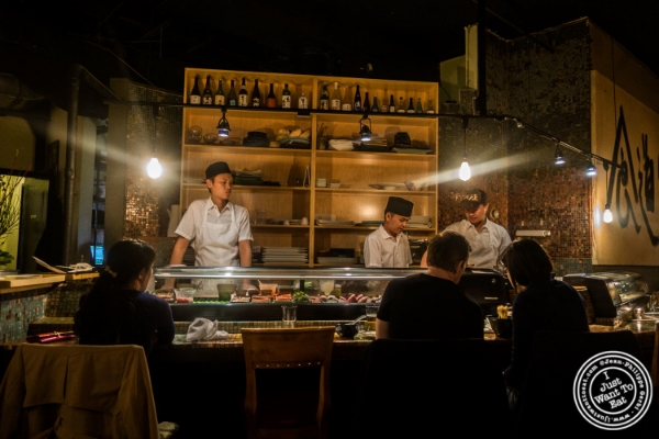 Sushi bar at Zutto, Japanese American Pub in Tribeca, NYC, New York