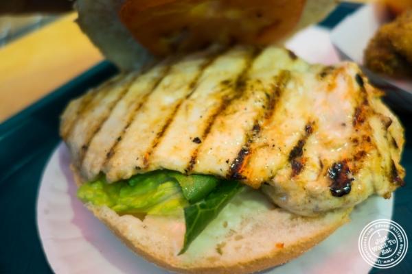Grilled chicken sandwich at  Cluck-U Chicken in Hoboken, NJ