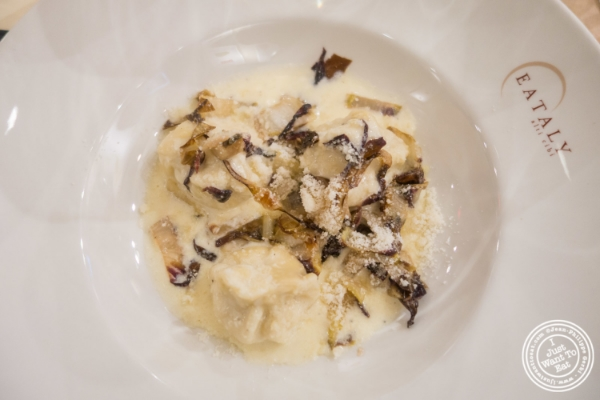 Roasted Abate Fetel pear fiochetti with taleggio cream and charred radicchio