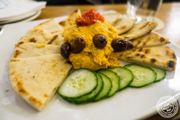 Chickpea and red pepper hummus at Heartland Brewery in New York, NY
