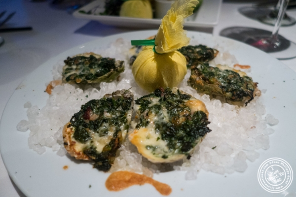 The oysters Rockefeller at Mastro's Steakhouse in New York, NY
