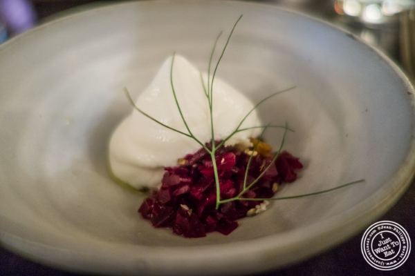 Beets and goat cream at Betony in New York, NY