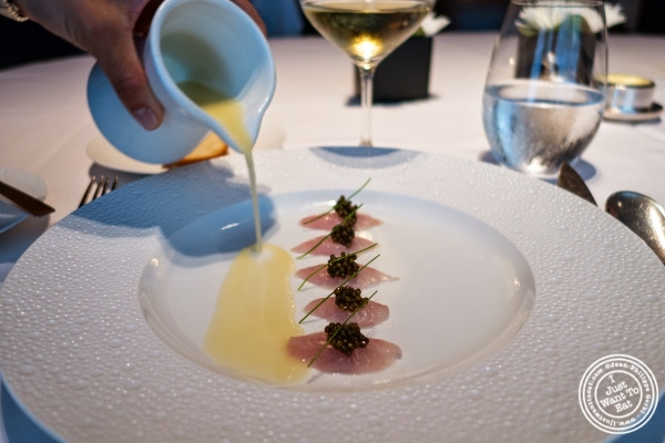 king fish and caviar at Le Bernardin in New York, NY