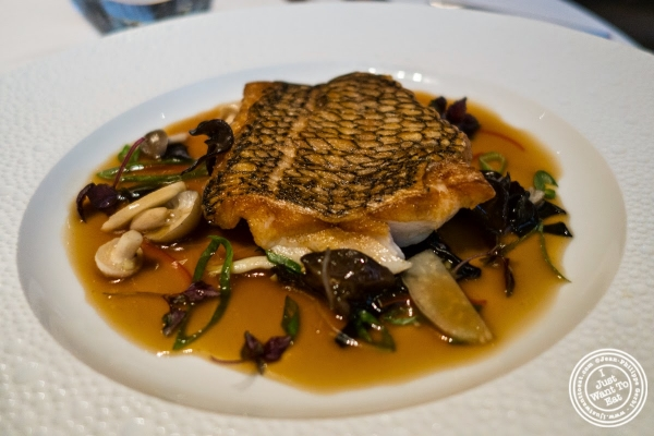 crispy black bass at Le Bernardin in New York, NY