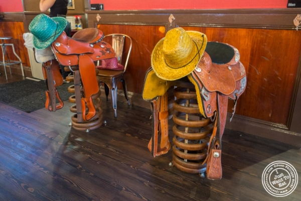 Saddle in the dining room at The Smokin' Barrel in Hoboken, NJ
